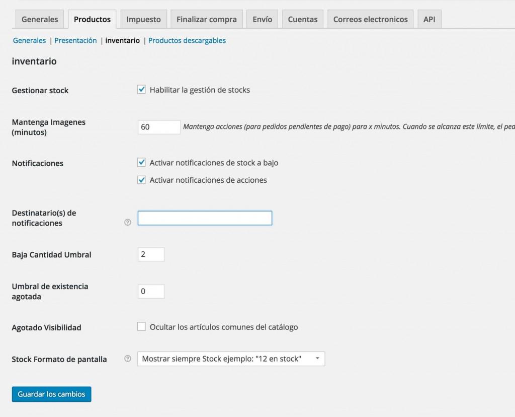 Configurar Stock WooCommerce