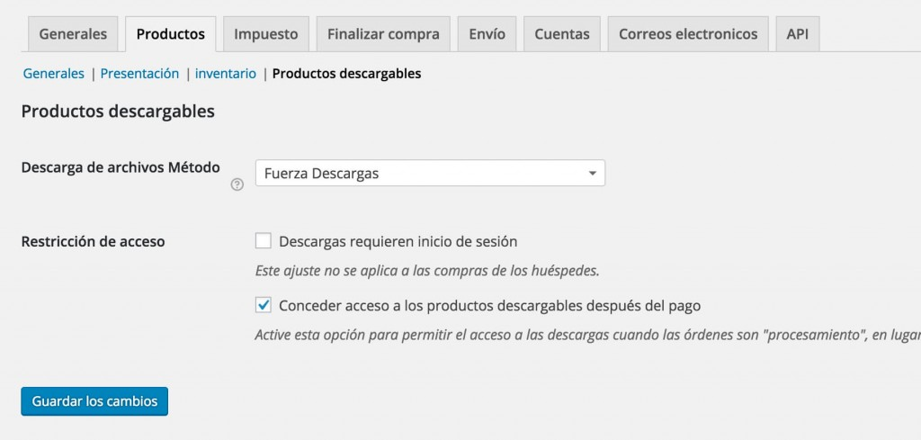 Productos Descargables WooCommerce